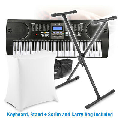Electronic Keyboard Digital Electric Piano Music with Stand, Case and Scrim