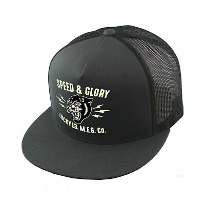 Lucky 13 The Panther Head Poplin Snap Back Trucker Cap Mesh Charcoal