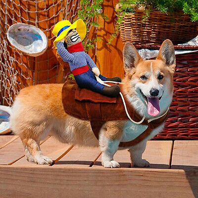 US Funny Riding Horse Cowboy Pet Dog Costumes Puppy Halloween Costume Clothes