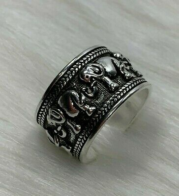 New Beautiful Antique Adjustable 925 Sterling Silver Elephant Ring. Vintage.