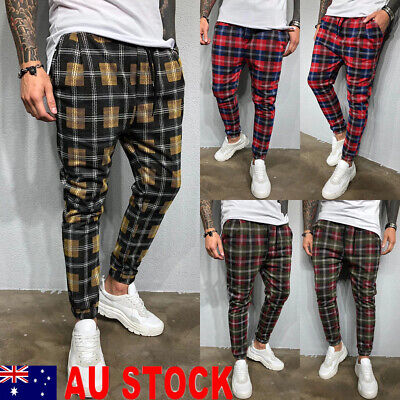 Men Slim Fit Trousers Check Casual Pants Jogger Tartan Jogging Skinny Bottoms AU