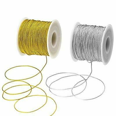 100m/roll Jewelry Braided Thread Metallic Cords Tinsel String Silver/Golden 1mm