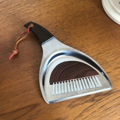 Vintage 1960s Stainless Steel Table Crumb Brush And Pan Tray Mid Century