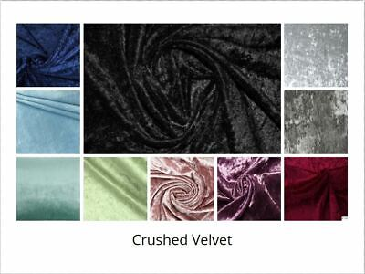 """Crushed Velvet Fabric Premium Craft Material, Sold By The Meter 57"""""""