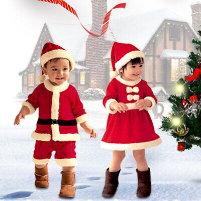 Christmas Toddler Kids Baby Boy Girls Clothes Xmas Santa Tops Pants Hat Outfit