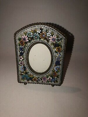 Antique Italian Micro Mosaic Oval Picture Frame