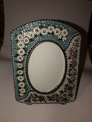 Antique Italian Micro Mosaic Curved Picture Frame