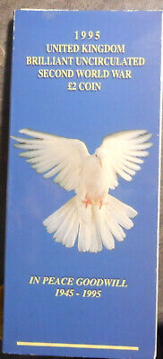 United Kingdom 1995 WWII Peace - Dove  2 pound Coin in Card