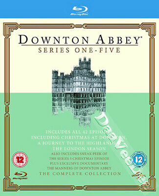 Downton Abbey - Complete Collection (Series 1-5) NEW Cult Blu-Ray 16-Disc Set