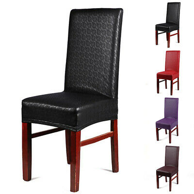 4 Colors Leather Kitchen Bar Dining Wedding Decor Chair Cover Decorative New