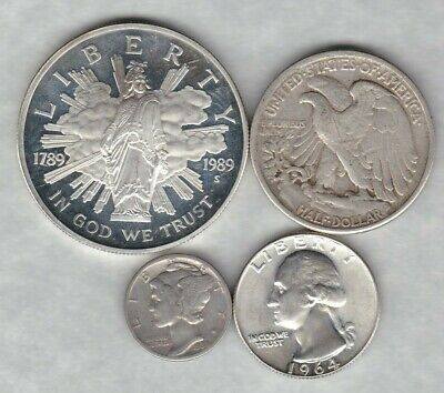 Four Usa Silver Coins In Used To Near Mint Condition.