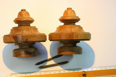Pair Vintage Hand Turned and Hand Carved Wooden Finials