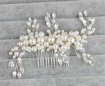 Crystal Hair Comb Pearls Wedding Dress Accessories Beaded Bridal Gown Headpiece