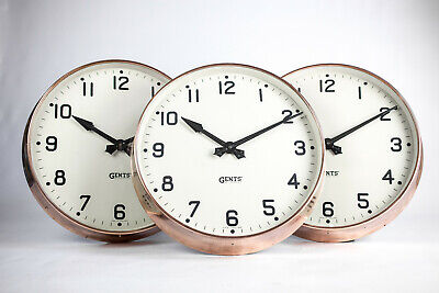 Large Vintage Industrial Copper Gents of Leicester Factory Railway Wall Clock