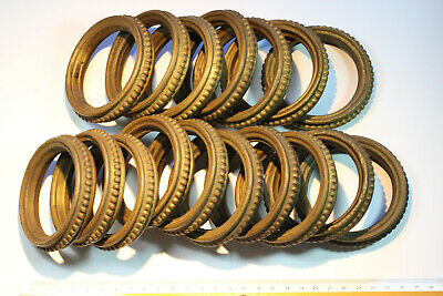 17 Antique French Profiled Brass Curtain Rings.