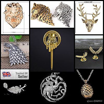 NEW Authentic Game of Thrones Large Pin Wolf Stag Brooch Complete collection UK