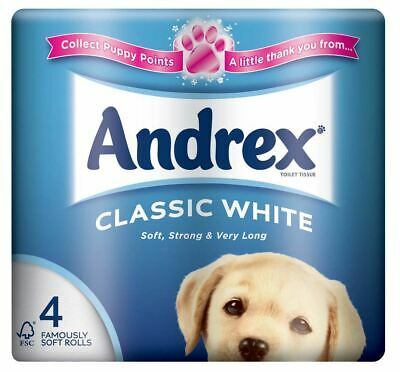 Andrex New and Improved Classic Clean Toilet Roll Tissue Paper - 4 Rolls