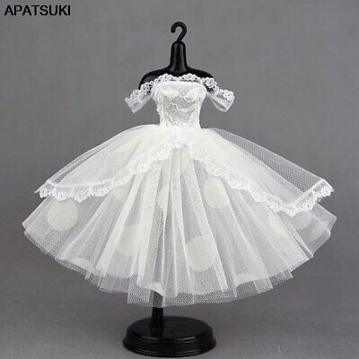 """White Lace Handmade Short Tutu Dress For 11.5"""" Doll Outfits Princess Party Gown"""