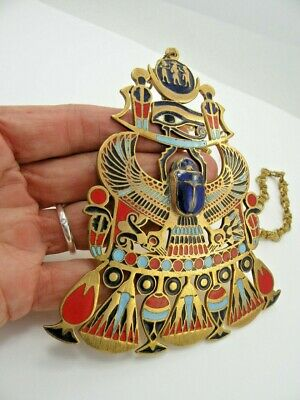 Lg Egyptian Amulet Falcon Scarab Enameled Brass Necklace Vintage Revival Eye