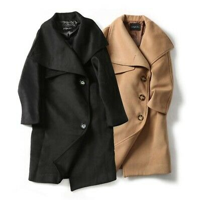 High-end Women Cocktail Golilla Stand Collar Wool Peacoat Trench Coats Outwear