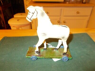 Late 1800S Early 1900S Large Size Wooden Horse Covered In Fabric/Handle Pull Toy