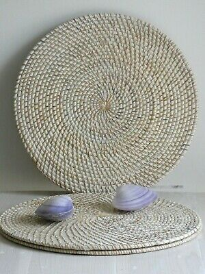 Balinese Round White  Washed Rattan Set of 4 Placemats