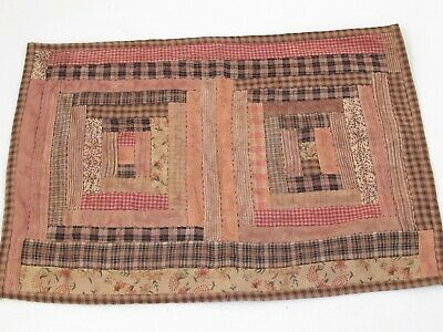 "Antique Doll Quilt Hand Quilted Cotton 18"" X 12 3/4"""