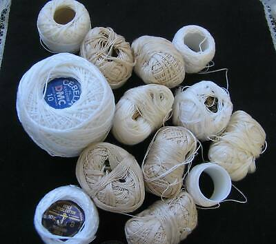 lot of PEARL 8,10,12 lacemaking or crochet thread  160 gram white and cream