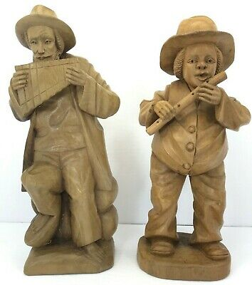 Wood Hand Carved Statue Figurine Man Playing Flute panpipe Equador lot of 2