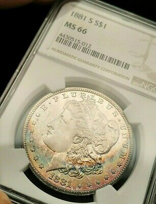 1881-S NGC MS66 Monster Rainbow Toned Color Morgan Great Luster Gem Star Worthy!