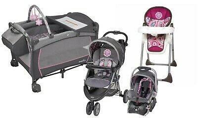 Baby Stroller Travel System with Car Seat High Chair Infant Playard Girls Combo