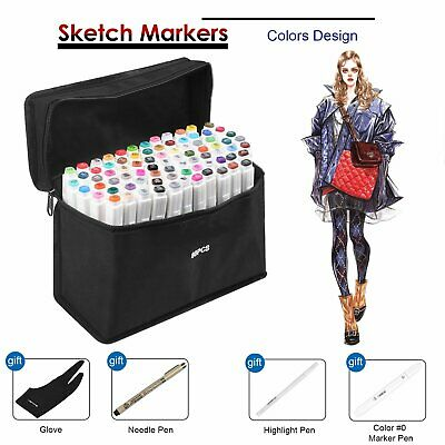 Touch Five 80 Markers Pen Graphic Art  Sketch Twin Tips Fine Broad + 6 GIFTS AU