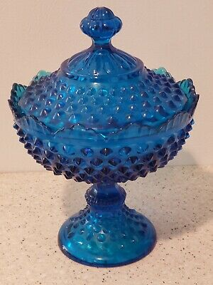 Vintage Fenton Cobalt Blue Hobnail Covered FOOTED Candy dish MINT CONDITION