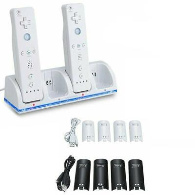 Charge Dock Charging Station + 4x Rechargeable Battery Pack Fit For WII Remote