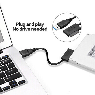 USB 3.0 to 7+6 13Pin Slimline SATA Cable for DVD/CD-ROM for HDD Drive Adapter