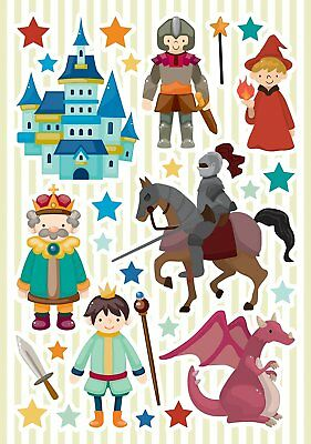 CASTLE 28 Wall Decals Room Decor Stickers Decoration DRAGONS KNIGHTS KING WIZARD