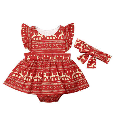 AU Newborn Baby Girls Ruffle Christmas Romper Jumpsuit Headband Outfit Clothes