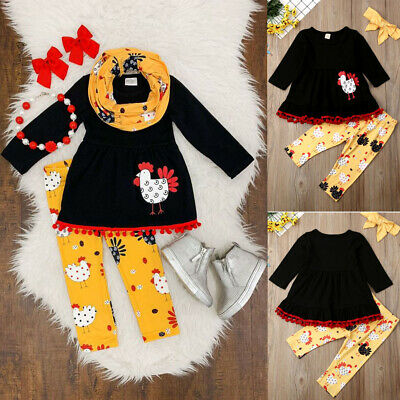 3Pcs Thanksgiving Day Kid Baby Girl Outfit Clothes T-shirt Tops Dress+ Pants New