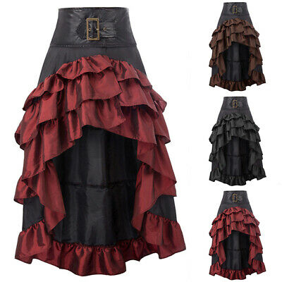 Damen Gothic Asymmetrisch Rocks Lang Retro Steampunks Party Röcke Kleid Maxirock