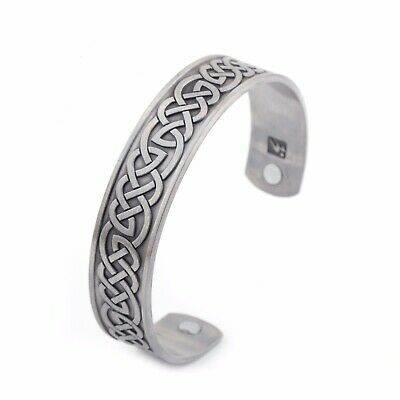Viking Knot Intertwined Metal Cuff Magnetic Bracelets Men Womens Jewelry Gift