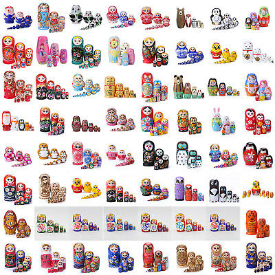 71 Style Wooden Russian Nesting Dolls Matryoshka Handmade Stacking Girl Gift Toy
