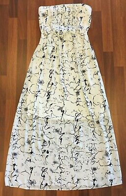 Forcast Womens Black/White Floral Strapless Lined Long Dress Size 8