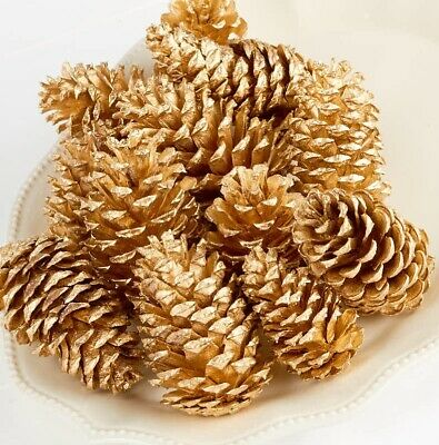 Gold Painted Pine Cones Christmas Wreath Craft Art