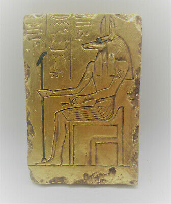 Scarce Circa 1000Bce Ancient Egyptian Gold Gilded Stone Carved Relief Panel