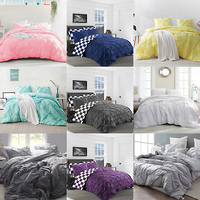 Pintuck Bedding Set 100% Cotton Duvet Cover Check Print Quilt Double Super King