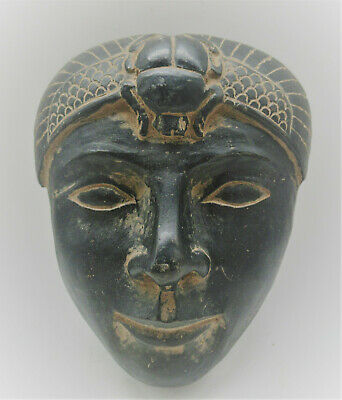 Rare Ancient Egyptian Black Carved Mummy Face Mask With Scarab On Top