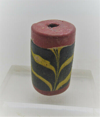 Ancient Phoenician Sand Core Formed Mosaic Glass Bead 500Bce
