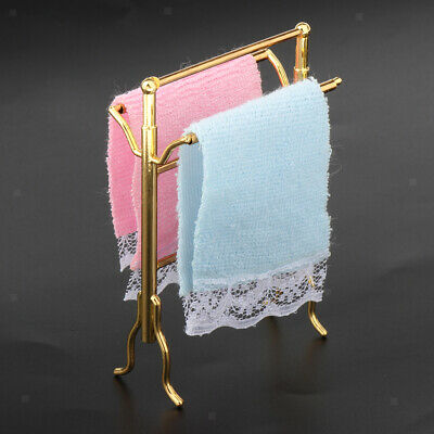 Dollhouse Miniature Modern Furniture Metal Towel Rack with Towels 1:12th