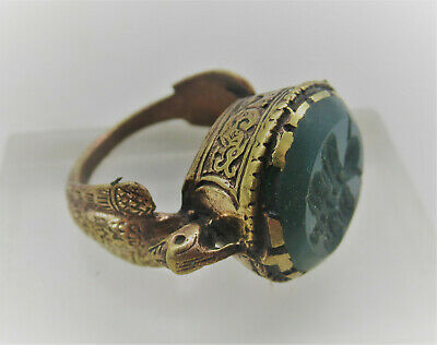 Superb Late Medieval Islamic Gold Gilded Ottoman Seal Ring With Lapis Intaglio