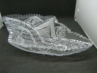 "Large 17"" heavy quality glass crystal bowl / fruit bowl - offset diamond shaped"